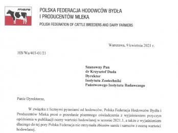 Instytut Zootechniki wyjaśnia opóźnienie w publikacji kwietniowych wyników oceny wartości hodowlanej